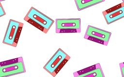 Texture seamless patten of old vintage retro audio cassettes from the 70`s, 80`s, 90`s. The background. Vector illustration. Texture seamless patten of old vector illustration