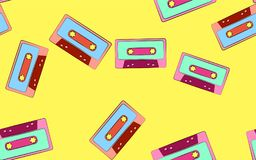 Texture seamless patten of old vintage retro audio cassettes from the 70`s, 80`s, 90`s. The background. Vector illustration. Texture seamless patten of old stock illustration