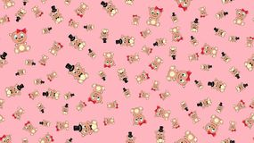 Texture seamless pattern with beautiful cheerful festive bright colorful colored bears fairy children`s ladies and gentlemen boy. And girl bear cubs joyful stock illustration