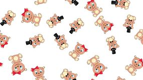Texture seamless pattern with beautiful cheerful festive bright colorful colored bears fairy children`s ladies and gentlemen boy. And girl bear cubs joyful royalty free illustration