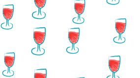 Texture, seamless pattern of beautiful hand-drawn watercolor wine glasses. The background. Vector illustration.  vector illustration