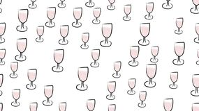 Texture, seamless pattern of beautiful hand-drawn watercolor wine glasses. The background. Vector illustration.  royalty free illustration