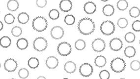Texture seamless pattern of black round abstract carved metal beer caps with sharp edges for clogging beer bottles used in vector illustration