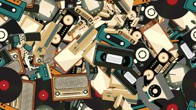 Texture, seamless pattern of old retro hipster electronics, mobile phones, tv recorder, player, audio tape, video recorder, game. Console, camera, computer. The vector illustration