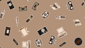 Texture, seamless pattern of old retro hipster electronics stickers, tv recorder mobile phone, player, audio cassette, video. Recorder, game console, camera stock illustration