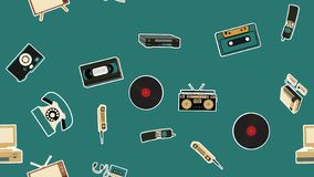 Texture, seamless pattern of old retro hipster electronics stickers, tv recorder mobile phone, player, audio cassette, video vector illustration