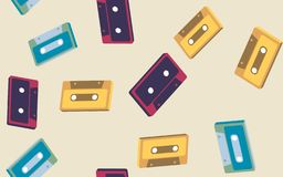 Texture, seamless pattern from old vintage retro hipster antique stylish musical isometry voluminous audio cassette vector illustration