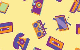 Texture seamless pattern from old vintage retro hipster stylish electronics appliances to home appliances 70s, 80s, 90s. The background. Vector illustration vector illustration