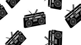 Texture seamless pattern old vintage retro hipstersih stylish isometric music audio tape recorder audio cassettes 70`s, 80`s, 90`s. Texture seamless pattern from stock illustration