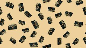 Texture seamless pattern old vintage retro hipstersih stylish isometric music audio tape recorder audio cassettes 70`s, 80`s, 90`s. Texture seamless pattern from royalty free illustration