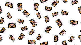 Texture seamless pattern old vintage retro hipstersih stylish isometric music audio tape recorder audio cassettes 70`s, 80`s, 90`s. Texture seamless pattern from vector illustration