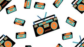 Texture seamless pattern from old vintage tape recorder for listening to audio cassettes from the 70`s, 80`s, 90`s. The background. Texture seamless pattern from stock illustration