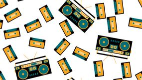 Texture seamless pattern from old vintage tape recorder for listening to audio cassettes from the 70`s, 80`s, 90`s. The background. Texture seamless pattern from vector illustration