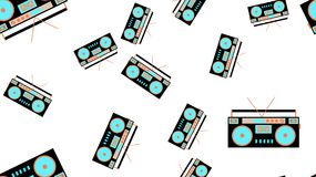 Texture seamless pattern retro music antique hip speakers audio tape recorder audiocassettes 60s 70s 80s 90s. Vector illustration. The texture is a seamless Royalty Free Stock Photography