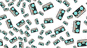 Texture seamless pattern retro music antique hip speakers audio tape recorder audiocassettes 60s 70s 80s 90s. Vector illustration. The texture is a seamless Stock Photography