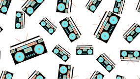Texture seamless pattern retro music antique hip speakers audio tape recorder audiocassettes 60s 70s 80s 90s. Vector illustration. The texture is a seamless stock illustration