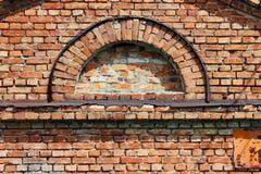 Texture semi-circular window in the old historic brick building. Texture semi-circular window in the old historic brick building stock photos