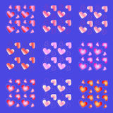 Texture set hearts on a purple background seamless Stock Photo