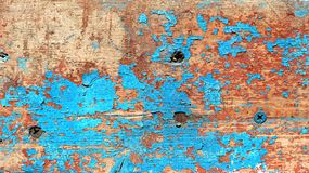 Texture of shabby wooden board with peeling blue paint Stock Photography