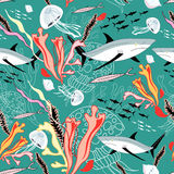 Texture of sharks and jellyfish. Seamless pattern with the marine jellyfish and sharks among the seaweed on a green background Royalty Free Stock Photography