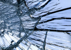 Texture of shiny blue mirror surface with small and large cracks Royalty Free Stock Photos