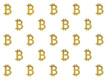 Texture of sign crypto currency of bitcoin on gold background. Symbol BTC. Texture of sign crypto currency of bitcoin  on gold background. Symbol BTC. Bitcoin Royalty Free Stock Photos