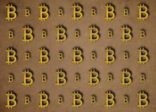 Texture of sign crypto currency of bitcoin on gold background. Symbol BTC. Texture of sign crypto currency of bitcoin  on gold background. Symbol BTC. Bitcoin Royalty Free Stock Photography