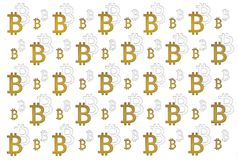 Texture of sign crypto currency of bitcoin on white background. Symbol BTC. Texture of sign crypto currency of bitcoin  white background. Symbol BTC. Bitcoin Royalty Free Stock Image