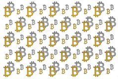 Texture of sign crypto currency of bitcoin on white background. Symbol BTC. Bitcoin bifurcation Stock Photography