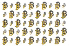 Texture of sign crypto currency of bitcoin on white background. Symbol BTC. Bitcoin bifurcation Stock Photos
