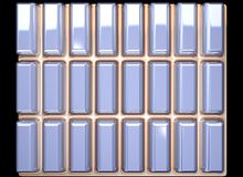 Texture of a silver tile. Silver tile on a gold background stock illustration