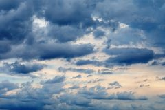 Texture of the sky with rain clouds. Overall plan stock photography
