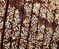 Texture of sliced rye bread with cereals.  Royalty Free Stock Images