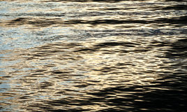 Texture of Small Waves Reflecting Light and Shadow at Dusk Stock Image