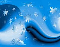 Snowflakes on Blue Swirls. Snowstorm Stock Photo