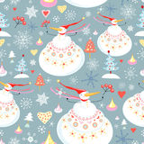 Texture of the snowmen. Seamless pattern of winter fun snowmen on a blue background with snowflakes and Christmas trees vector illustration