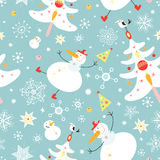 The texture of the snowmen and Christmas trees. Seamless pattern of snowmen and Christmas trees on a blue background stock illustration