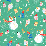 Texture snowmen and ice cream. Seamless decorative pattern of snowmen and ice cream on a green background Royalty Free Stock Photography