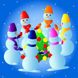 Texture with snowmen vector illustration