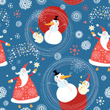 Texture snowmen and Santa Claus. Seamless pattern of snowmen and gay grandfathers morovzov on a blue background with snowflakes Stock Photos