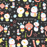 Texture of snowmen and toys. Seamless colorful pattern of snowmen and toys on a dark background Stock Images
