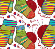 Texture sock. Texture with the image of a sock and mittens inscription Stock Photography