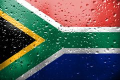 Texture of South Africa flag on the glass royalty free stock photo