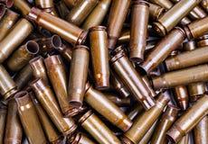 Texture of spent cartridges Kalashnikov Stock Photo