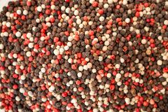 Texture of spices mix close-up, spice or seasoning as background. Black Pepper, Red pepper royalty free stock image