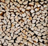 Texture of a stack of chopped firewood. Texture of a vertical stack of chopped firewood Stock Photography