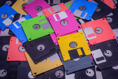 Texture of stack colorful floppy disks Royalty Free Stock Images