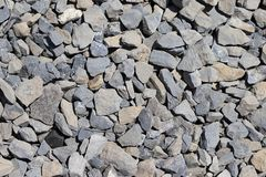 The texture of stone gravel gray. Stone rubble gray poured pile close-up. Stone path crushed. Stone stock images