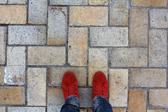 The texture of the stone. Man stands on stone masonry Stock Photos