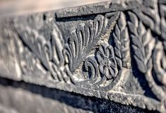 Texture stone sculpture. Armenian. Stock Photo